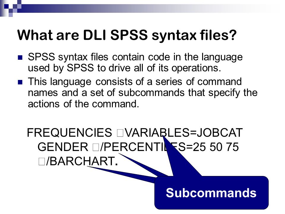 What are DLI SPSS syntax files.