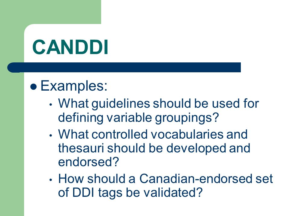 CANDDI Examples: What guidelines should be used for defining variable groupings.
