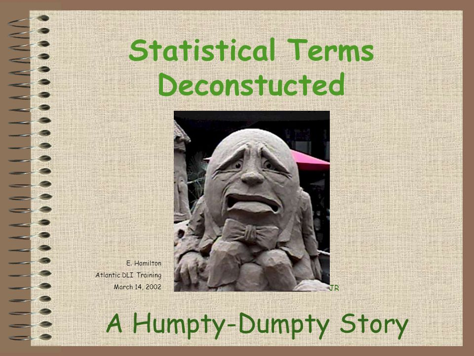 Statistical Terms Deconstucted A Humpty-Dumpty Story JR E.