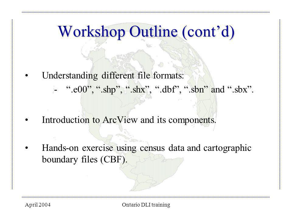 April 2004Ontario DLI training Workshop Outline (contd) Understanding different file formats: -.e00,.shp,.shx,.dbf,.sbn and.sbx. Introduction to ArcVi