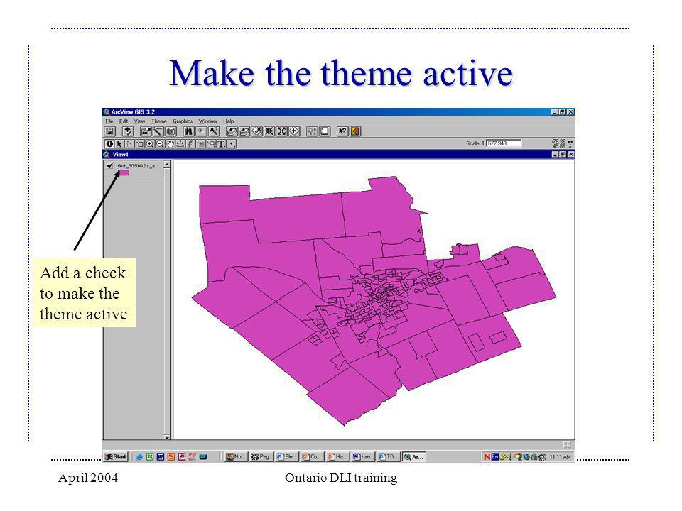 April 2004Ontario DLI training Make the theme active Add a check to make the theme active