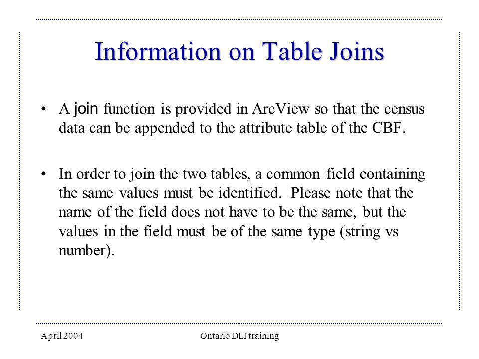 April 2004Ontario DLI training Information on Table Joins A join function is provided in ArcView so that the census data can be appended to the attrib