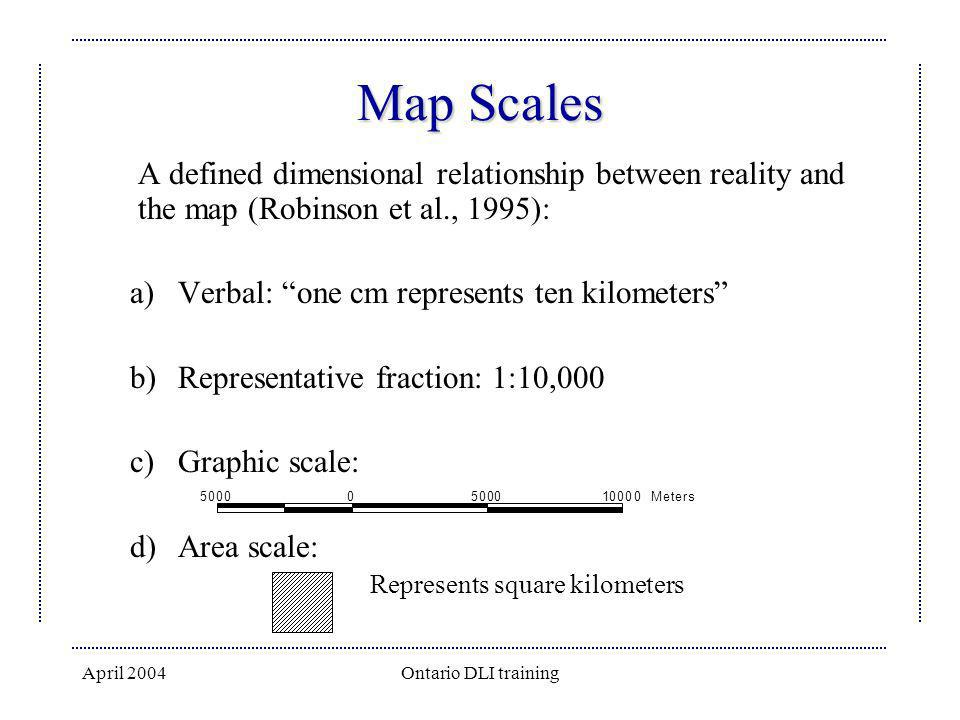 April 2004Ontario DLI training Map Scales A defined dimensional relationship between reality and the map (Robinson et al., 1995): a)Verbal: one cm rep