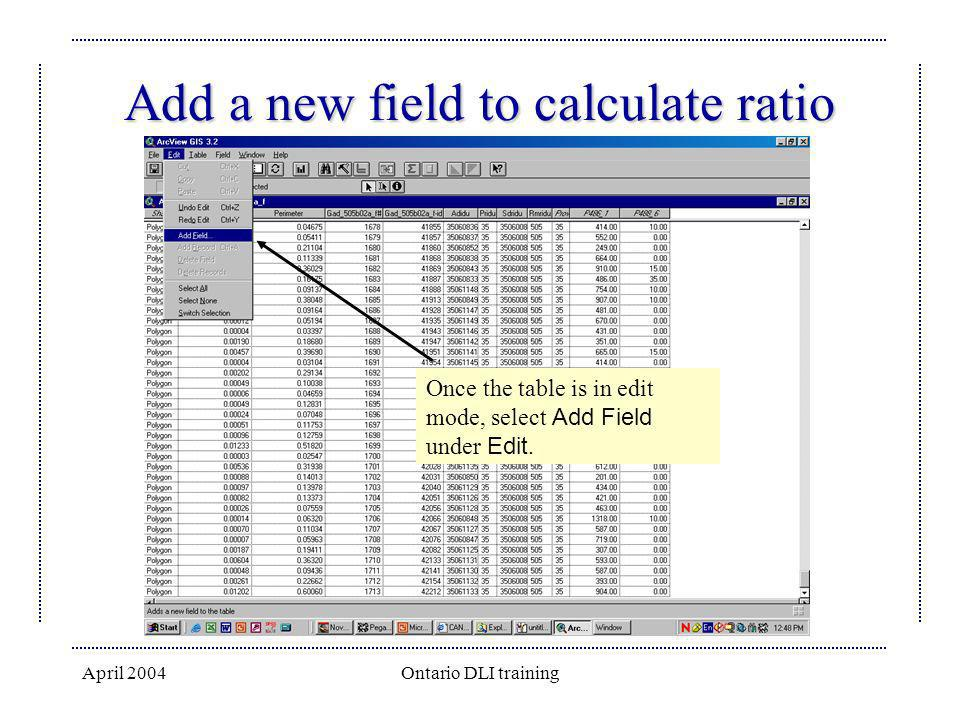 April 2004Ontario DLI training Add a new field to calculate ratio Once the table is in edit mode, select Add Field under Edit.