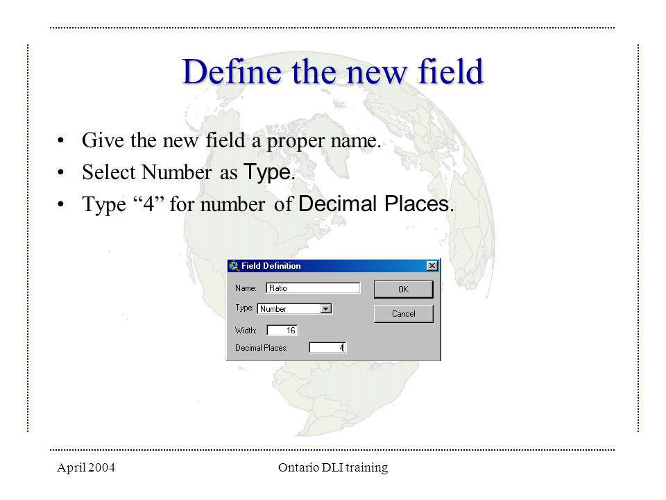 April 2004Ontario DLI training Define the new field Give the new field a proper name. Select Number as Type. Type 4 for number of Decimal Places.
