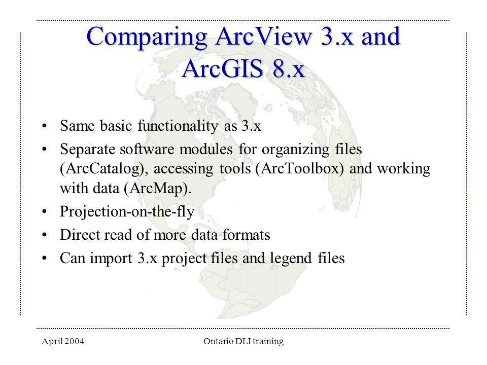 April 2004Ontario DLI training Comparing ArcView 3.x and ArcGIS 8.x Same basic functionality as 3.x Separate software modules for organizing files (Ar