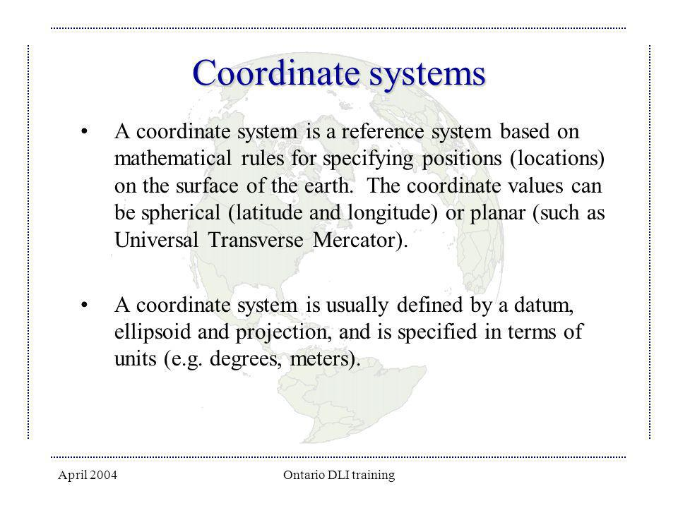 April 2004Ontario DLI training StatCan Spatial File Naming Convention First Character: projection of file: g if projection is Geographic Latitude/Longitude and l if projection is Lambert Conic Conformal.