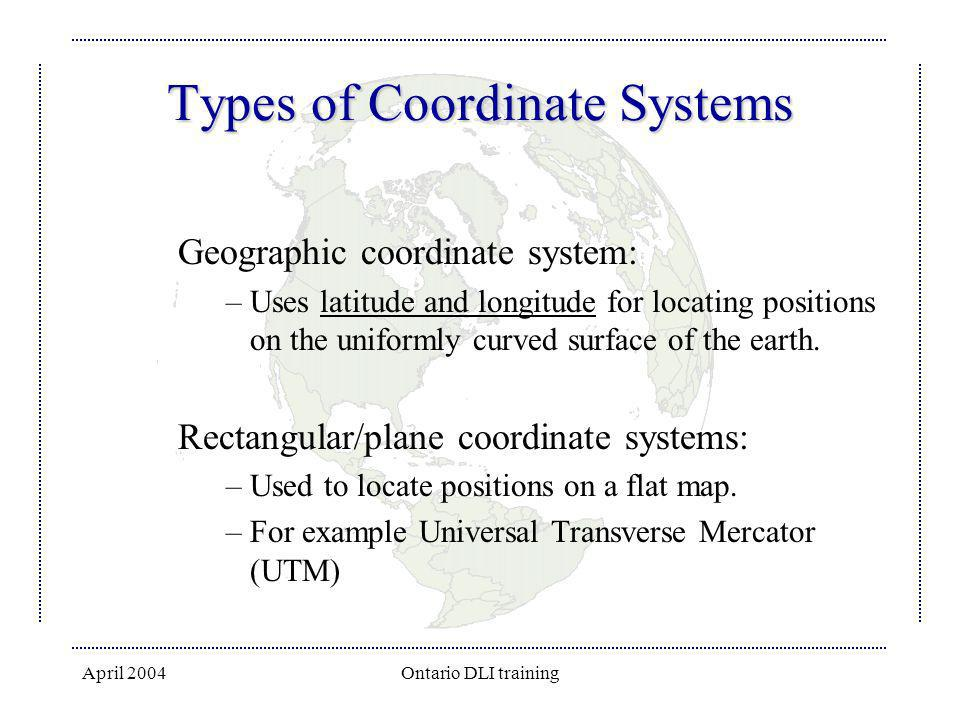 April 2004Ontario DLI training Types of Coordinate Systems Geographic coordinate system: –Uses latitude and longitude for locating positions on the un