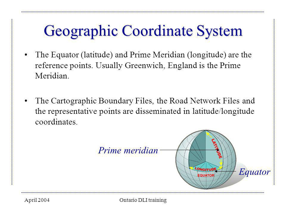 April 2004Ontario DLI training Geographic Coordinate System The Equator (latitude) and Prime Meridian (longitude) are the reference points. Usually Gr