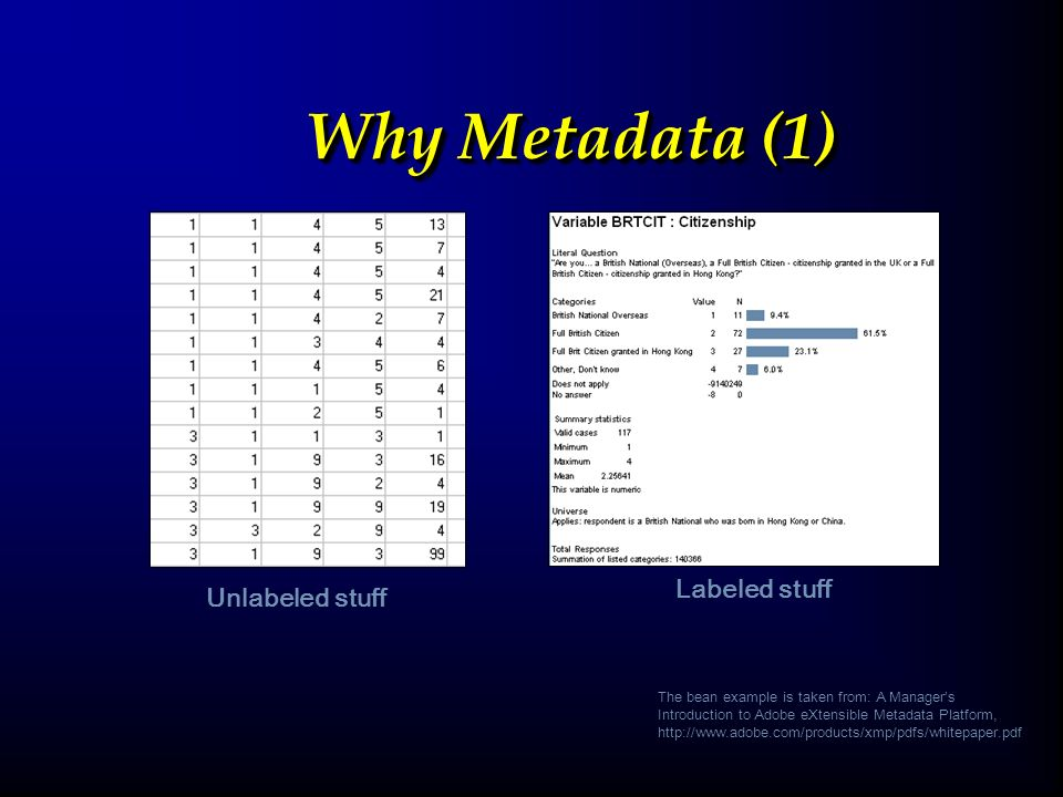 Why Metadata (1) Unlabeled stuffLabeled stuff The bean example is taken from: A Managers Introduction to Adobe eXtensible Metadata Platform, http://www.adobe.com/products/xmp/pdfs/whitepaper.pdf