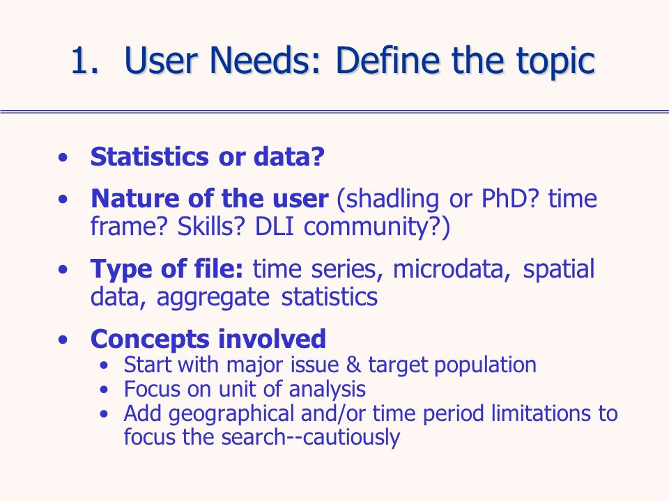 Statistics or data.Nature of the user (shadling or PhD.