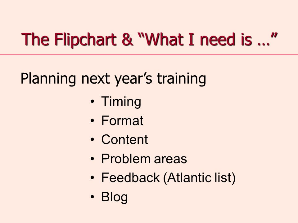 The Flipchart & What I need is … Timing Format Content Problem areas Feedback (Atlantic list) Blog Planning next years training
