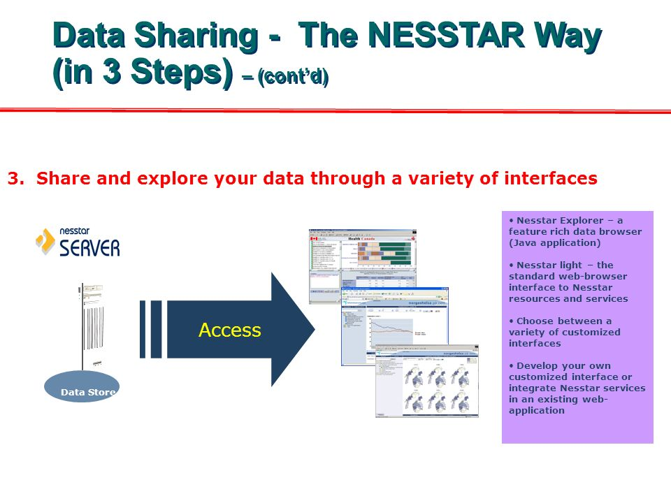 3. Share and explore your data through a variety of interfaces Nesstar Explorer – a feature rich data browser (Java application) Nesstar light – the s
