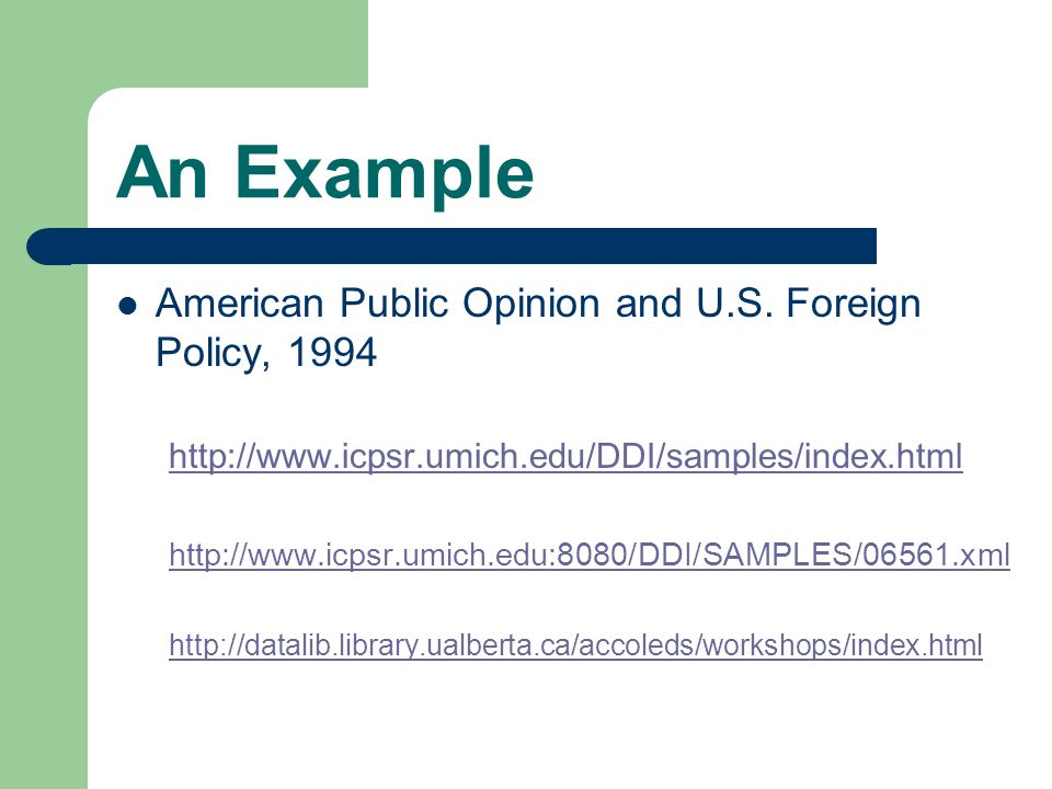An Example American Public Opinion and U.S.