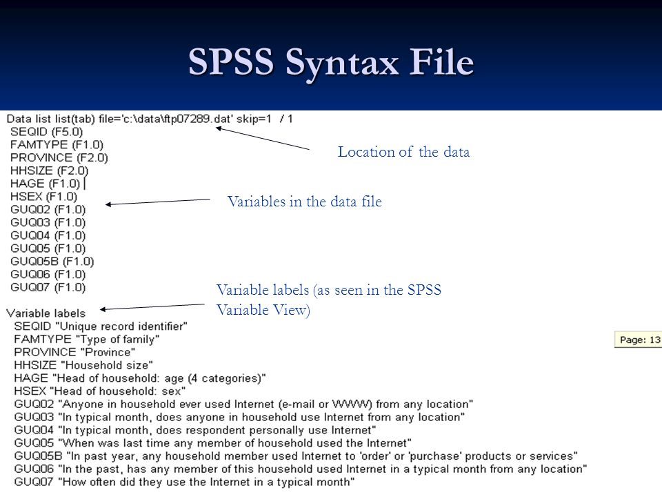 SPSS Syntax File Location of the data Variable labels (as seen in the SPSS Variable View) Variables in the data file