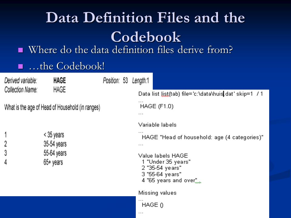Data Definition Files and the Codebook Where do the data definition files derive from.
