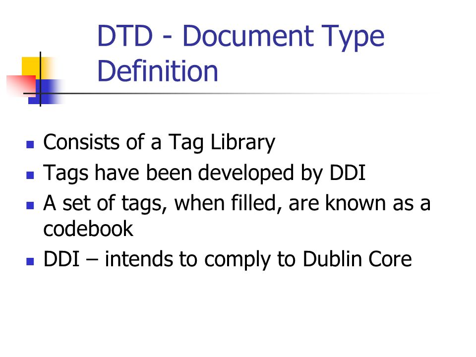 DINO Dec 2005 Questions for the Group Sharing the metadata xml files What sections of DDI should be included in the exchange.