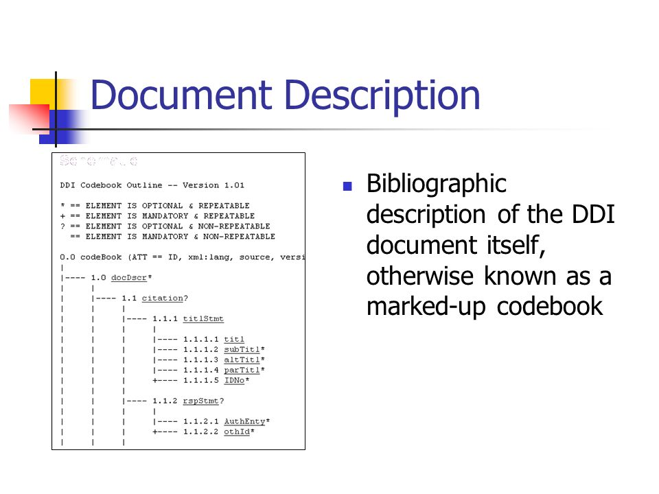 Document Description Bibliographic description of the DDI document itself, otherwise known as a marked-up codebook
