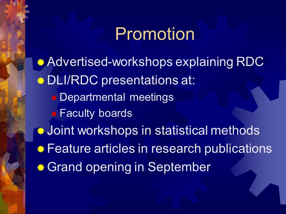 Promotion Advertised-workshops explaining RDC DLI/RDC presentations at: Departmental meetings Faculty boards Joint workshops in statistical methods Feature articles in research publications Grand opening in September