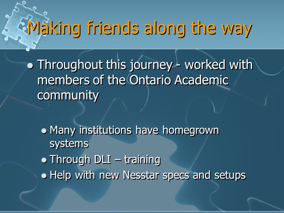 Making friends along the way Throughout this journey - worked with members of the Ontario Academic community Many institutions have homegrown systems Through DLI – training Help with new Nesstar specs and setups Throughout this journey - worked with members of the Ontario Academic community Many institutions have homegrown systems Through DLI – training Help with new Nesstar specs and setups