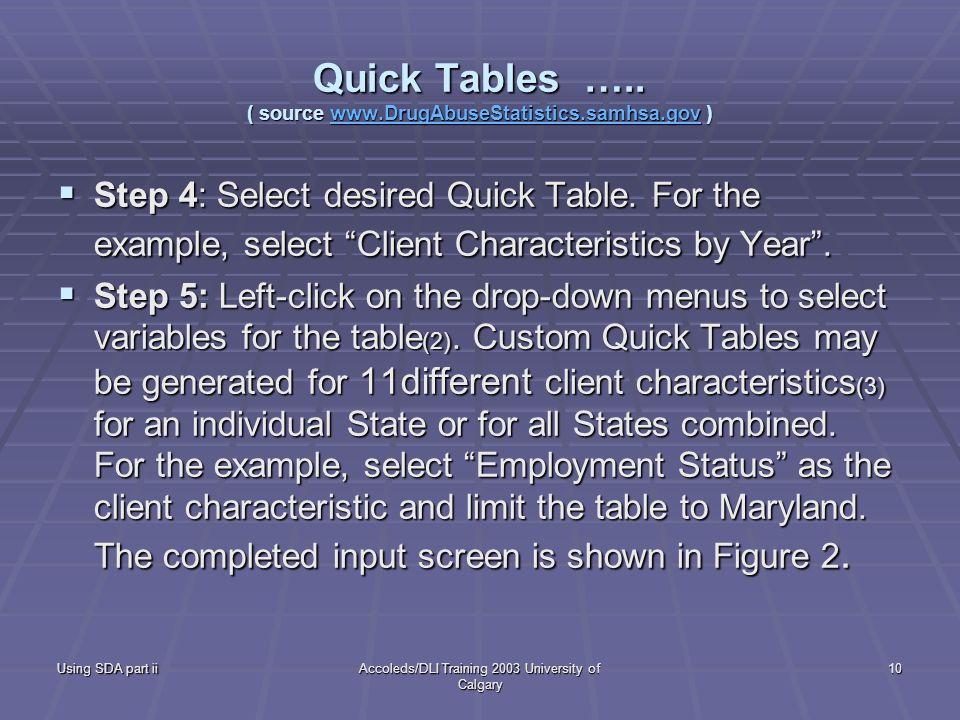 Using SDA part iiAccoleds/DLI Training 2003 University of Calgary 10 Quick Tables …..