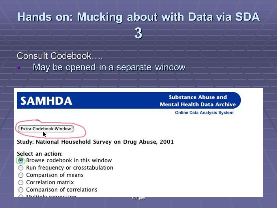 Using SDA part iiAccoleds/DLI Training 2003 University of Calgary 16 Hands on: Mucking about with Data via SDA 3 Consult Codebook….