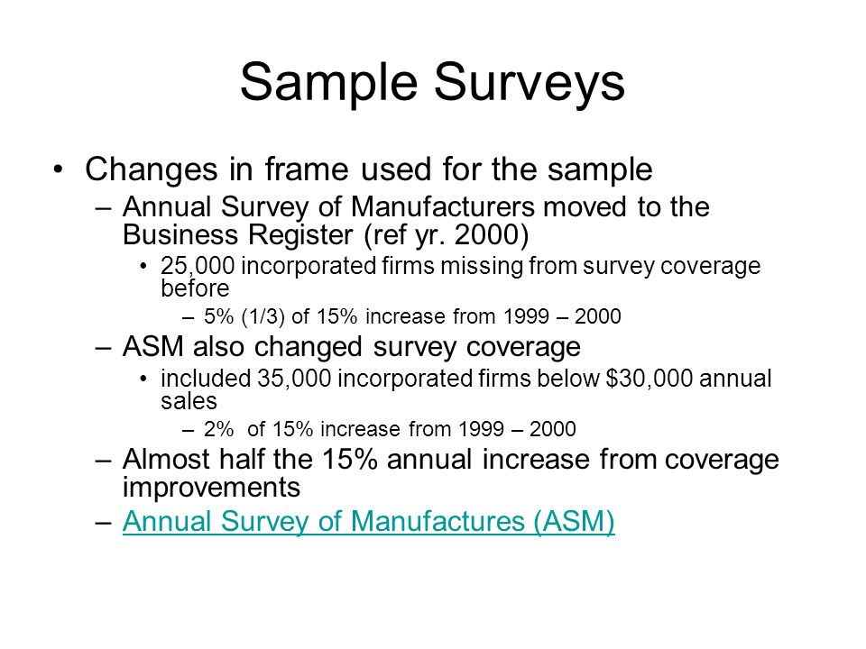 Sample Surveys Changes in frame used for the sample –Annual Survey of Manufacturers moved to the Business Register (ref yr.