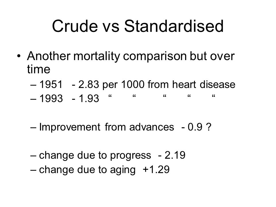 Another mortality comparison but over time –1951 - 2.83 per 1000 from heart disease –1993- 1.93 –Improvement from advances - 0.9 .