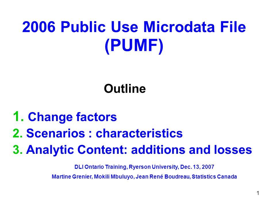 1 2006 Public Use Microdata File (PUMF) 1. Change factors 2.