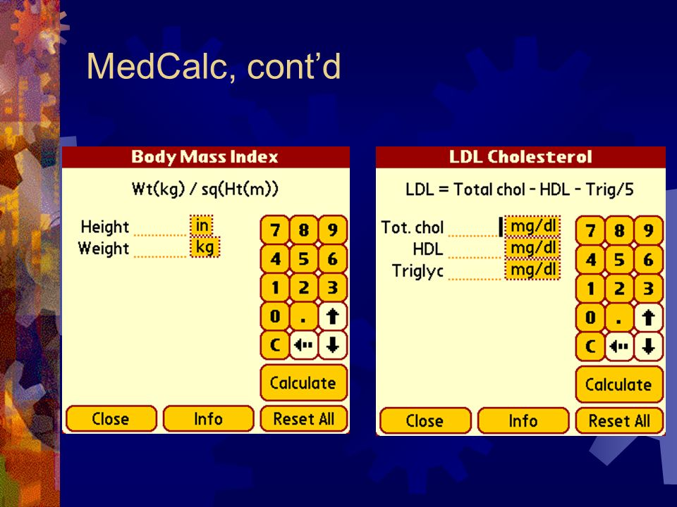 MedCalc, contd