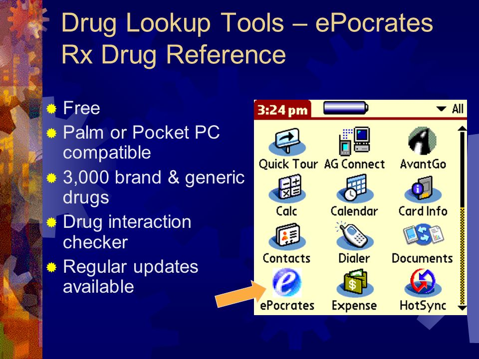 Drug Lookup Tools – ePocrates Rx Drug Reference Free Palm or Pocket PC compatible 3,000 brand & generic drugs Drug interaction checker Regular updates available