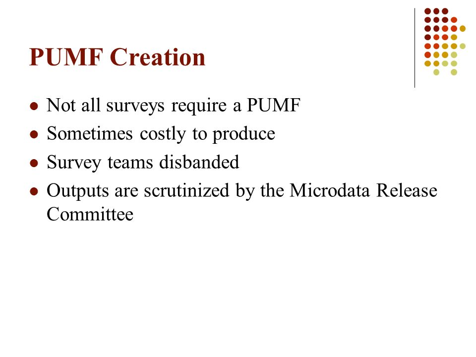 PUMF Creation – Cycle Increased Content Increased Scrutiny Increased Costs Increased Time to Produce