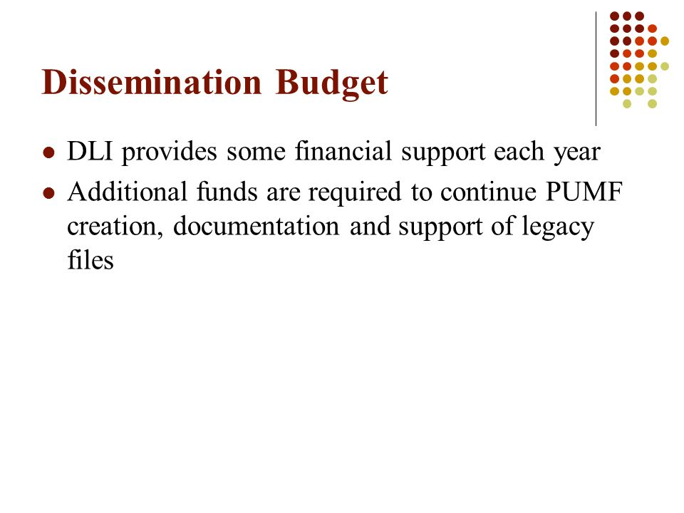 Dissemination Budget DLI provides some financial support each year Additional funds are required to continue PUMF creation, documentation and support of legacy files