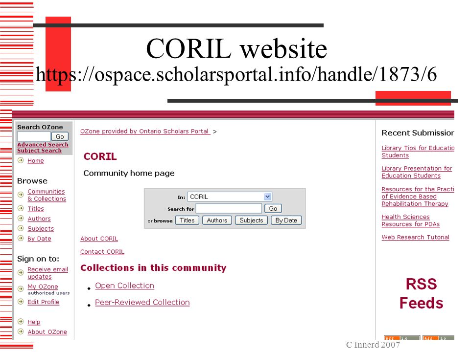 C Innerd 2007 CORIL website https://ospace.scholarsportal.info/handle/1873/6