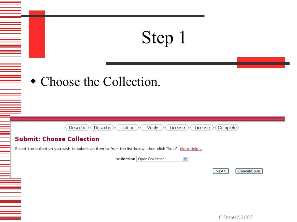C Innerd 2007 Step 1 Choose the Collection.
