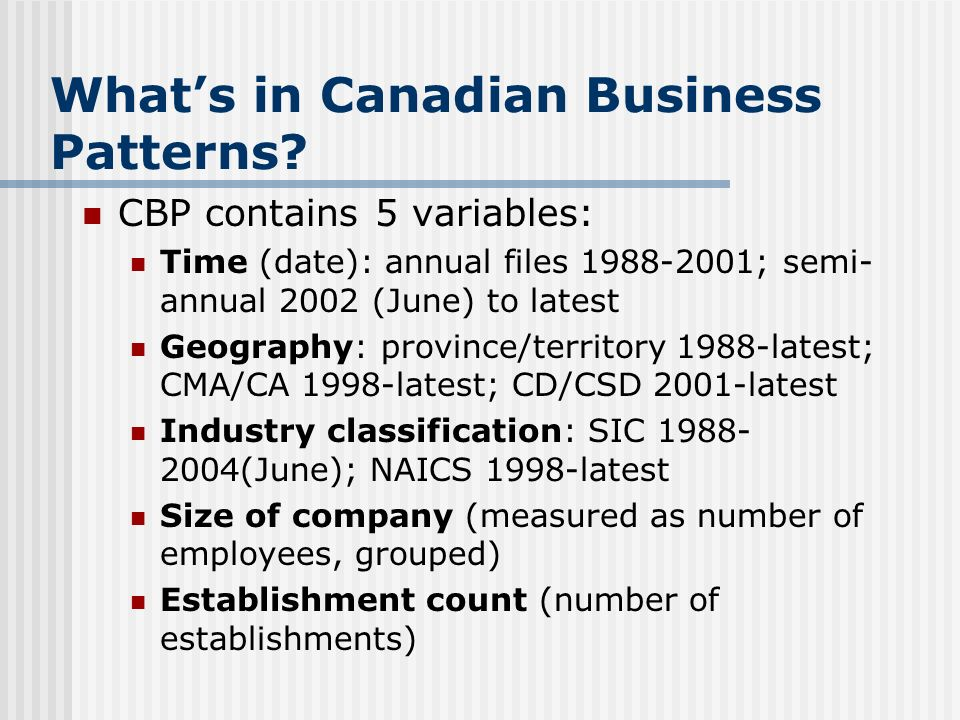Whats in Canadian Business Patterns.