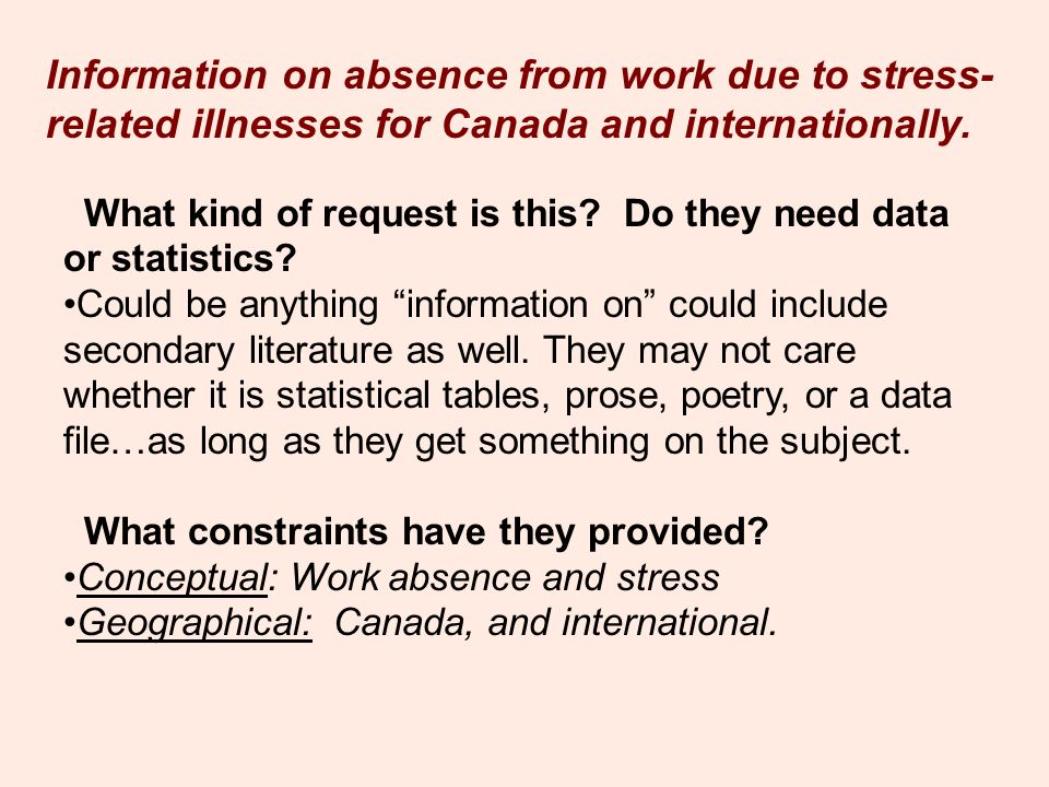 Information on absence from work due to stress- related illnesses for Canada and internationally. What kind of request is this? Do they need data or s