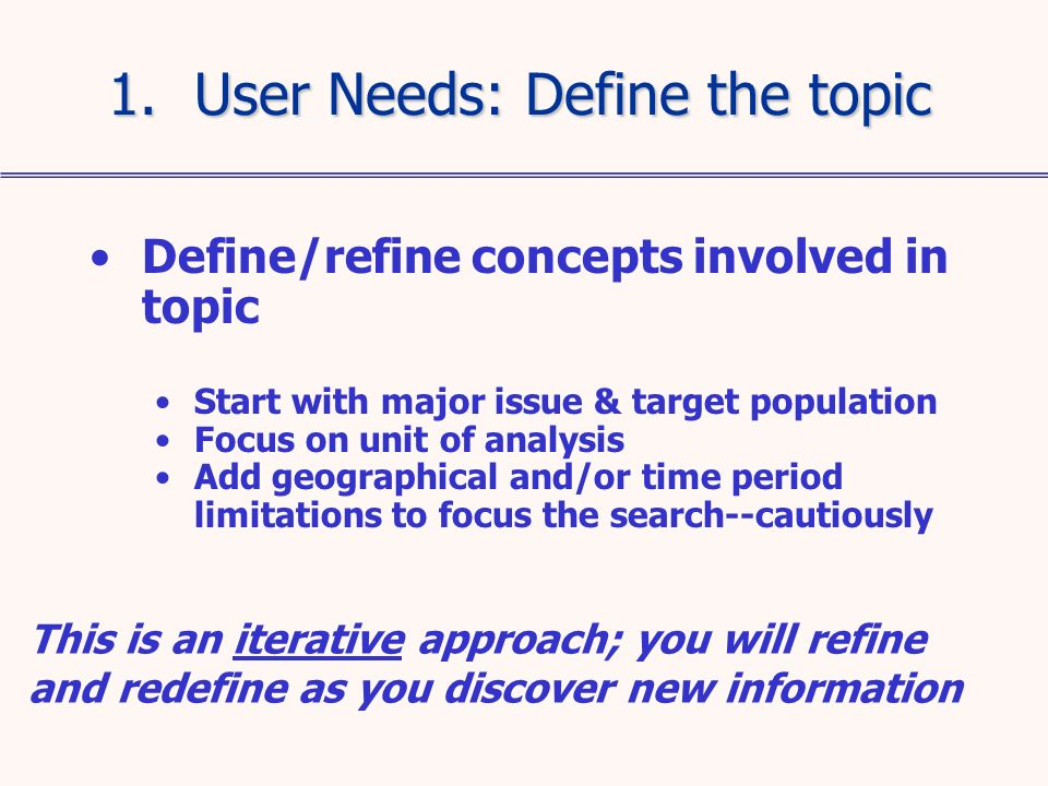Define/refine concepts involved in topic Start with major issue & target population Focus on unit of analysis Add geographical and/or time period limi