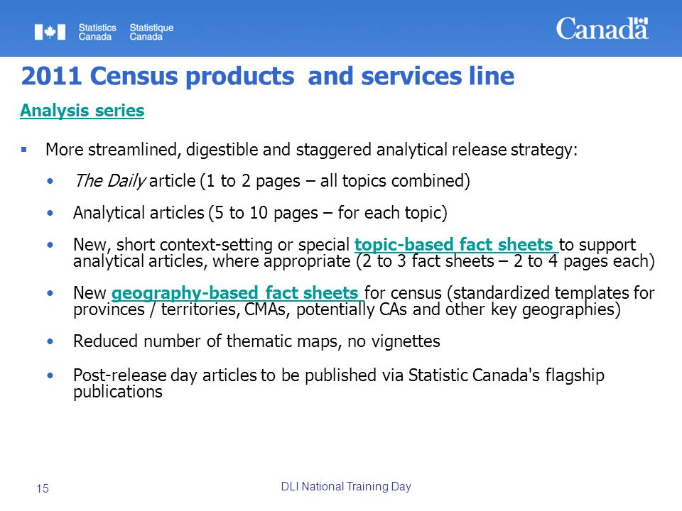 DLI National Training Day 15 2011 Census products and services line Analysis series More streamlined, digestible and staggered analytical release strategy: The Daily article (1 to 2 pages – all topics combined) Analytical articles (5 to 10 pages – for each topic) New, short context-setting or special topic-based fact sheets to support analytical articles, where appropriate (2 to 3 fact sheets – 2 to 4 pages each)topic-based fact sheets New geography-based fact sheets for census (standardized templates for provinces / territories, CMAs, potentially CAs and other key geographies)geography-based fact sheets Reduced number of thematic maps, no vignettes Post-release day articles to be published via Statistic Canada s flagship publications