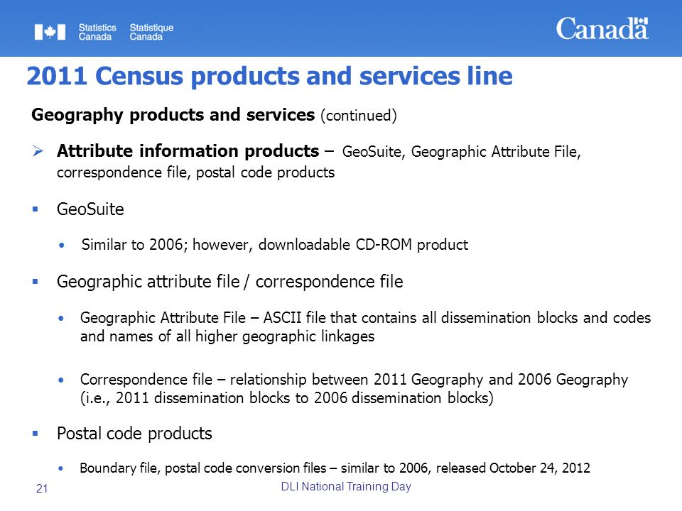 DLI National Training Day 21 2011 Census products and services line Geography products and services (continued) Attribute information products – GeoSu