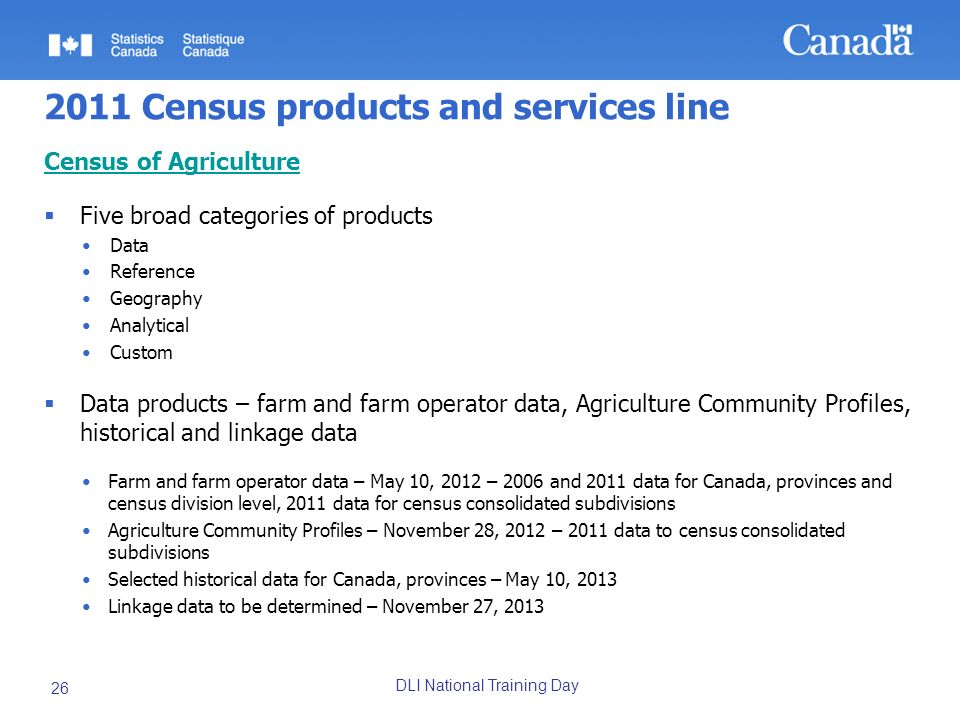 DLI National Training Day 26 2011 Census products and services line Census of Agriculture Five broad categories of products Data Reference Geography A