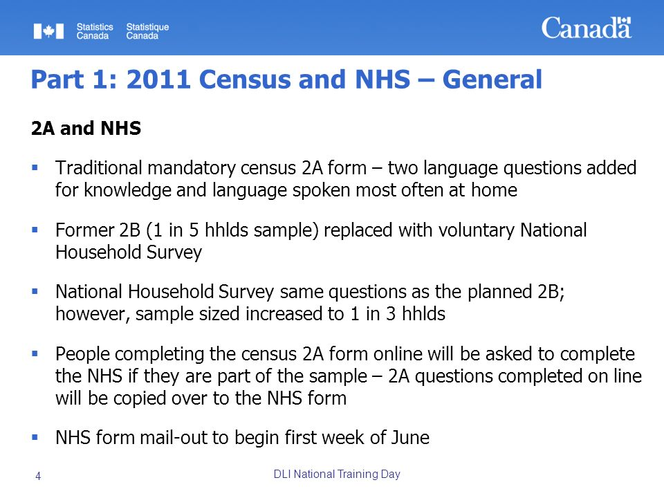 DLI National Training Day 25 2011 Census products and services line Microdata / Research Data Centre products and services PUMF No plans to produce census PUMF(s) For 2011 NHS, planning INDIV and Hierarchical; 2006 – INDIV 2.7% (Prov.