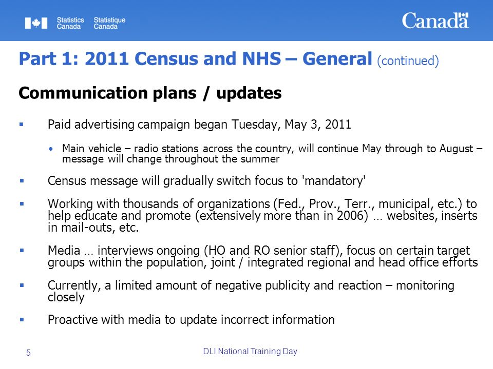 DLI National Training Day 5 Part 1: 2011 Census and NHS – General (continued) Communication plans / updates Paid advertising campaign began Tuesday, M