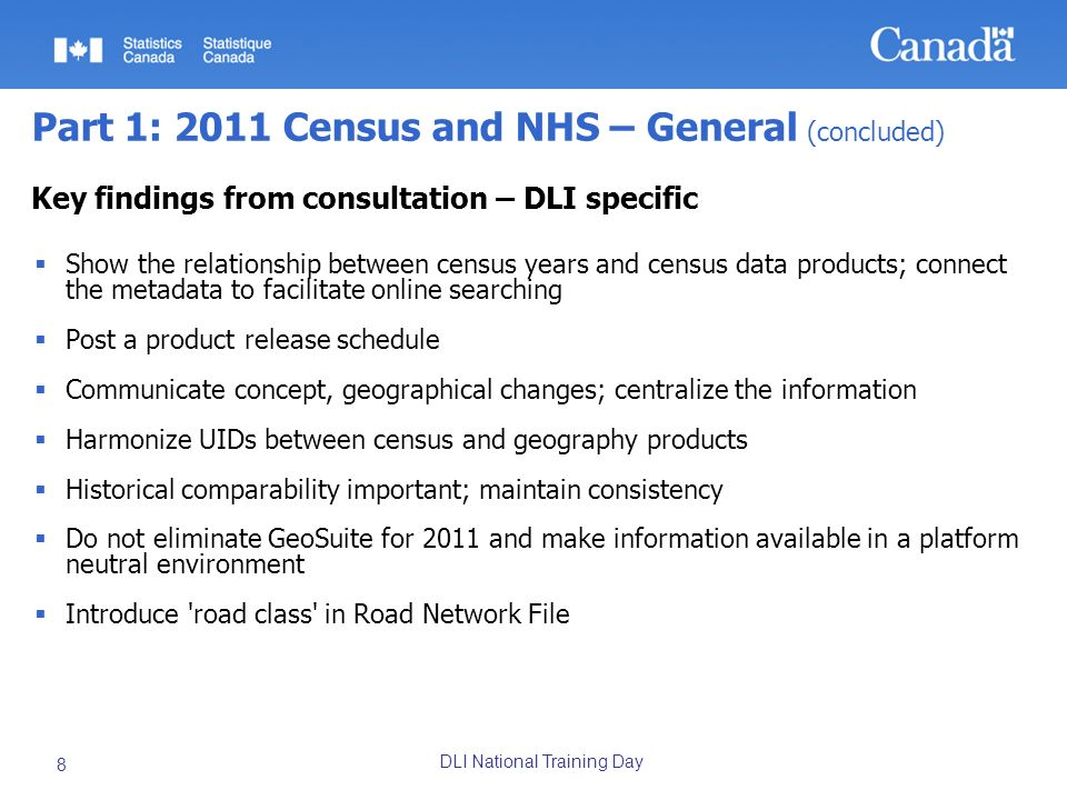 DLI National Training Day 8 Part 1: 2011 Census and NHS – General (concluded) Key findings from consultation – DLI specific Show the relationship betw