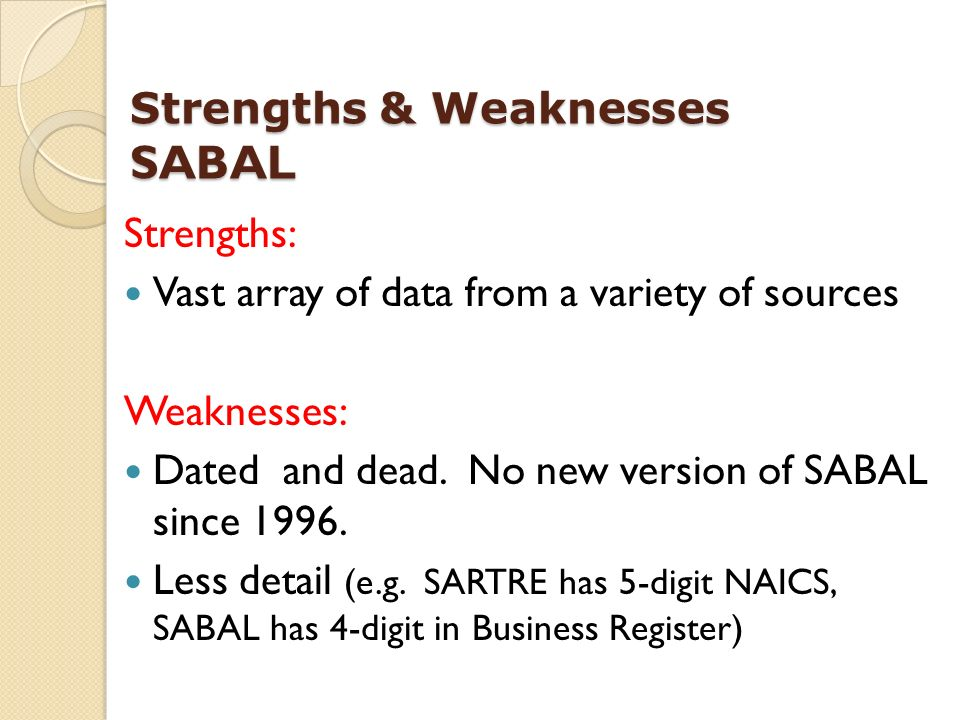Strengths: Vast array of data from a variety of sources Weaknesses: Dated and dead.