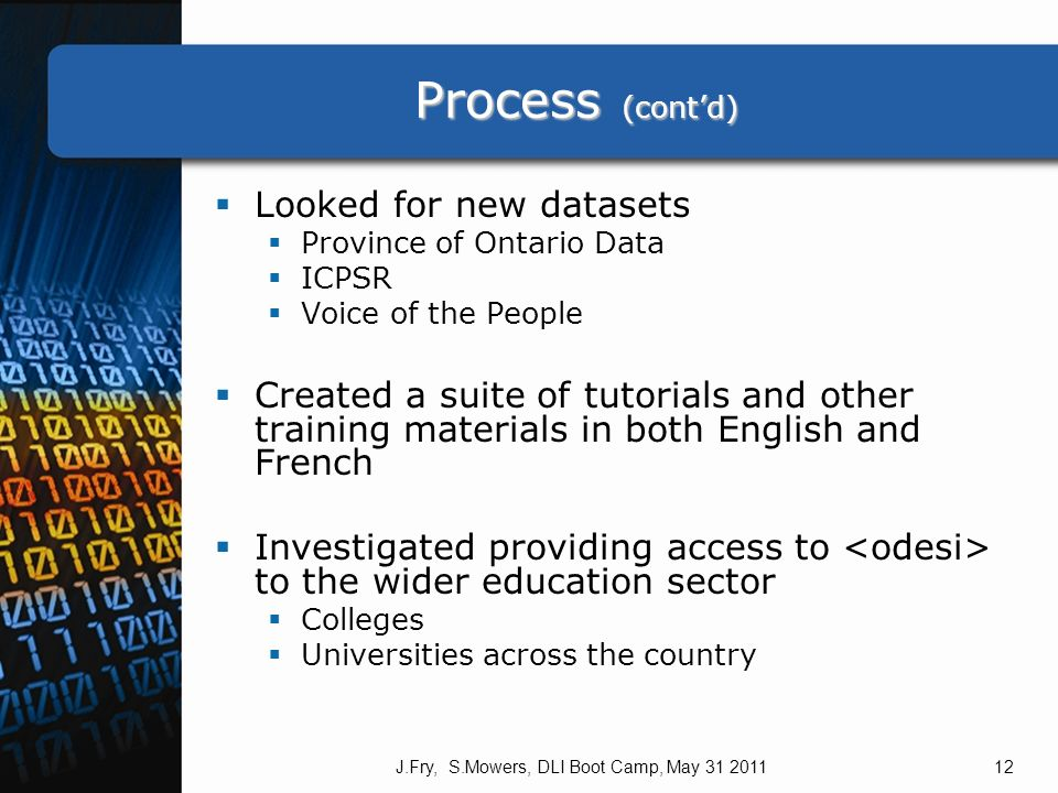 Process (contd) Process (contd) Looked for new datasets Province of Ontario Data ICPSR Voice of the People Created a suite of tutorials and other training materials in both English and French Investigated providing access to to the wider education sector Colleges Universities across the country J.Fry, S.Mowers, DLI Boot Camp, May 31 201112
