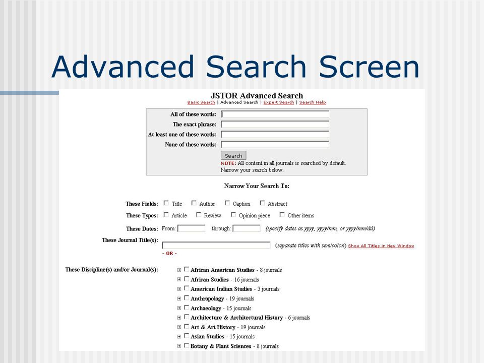 Advanced Search Screen