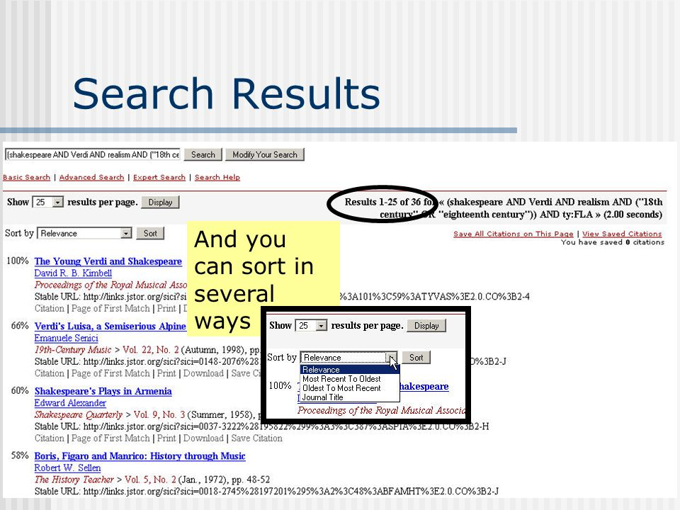 Search Results And you can sort in several ways