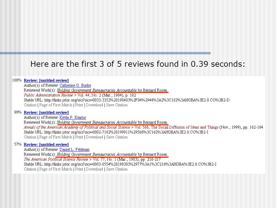 Here are the first 3 of 5 reviews found in 0.39 seconds: