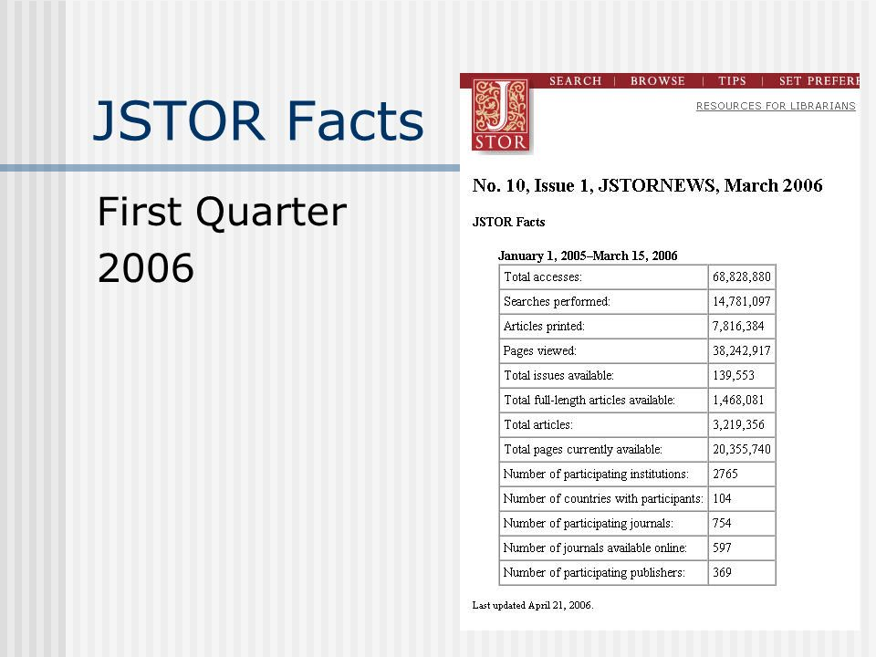 JSTOR Facts First Quarter 2006